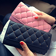 Women PU Tri-fold Clutch / Wallet / Card & ID Holder-Pink / Gold / Black