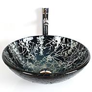 Moderne T12*Φ420*H145MM Rund sink Materiale er Hærdet GlasBadeværelse Håndvask / Badeværelse Vandhane / Badeværelse Monteringsring /