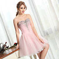 Cocktail Party Dress Ball Gown Sweetheart Short / Mini Tulle with Beading / Crystal Detailing / Sequins