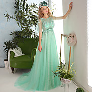 Formal Evening Dress Sheath / Column Jewel Court Train Lace / Tulle withAppliques / Beading / Bow(s) / Crystal Detailing / Embroidery /