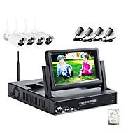 strongshine® trådlös IP-kamera med 720p / IR / vattentät och NVR med 7inch LCD / 1TB övervakning HDD kit