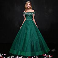 포멀 이브닝 드레스 A-라인 끈없는 스타일 바닥 길이 레이스 와 비즈 / 크리스탈 디테일 / 레이스
