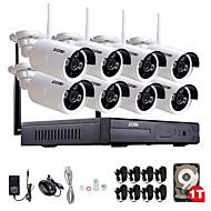960p zosi®8ch 8pcs NVR 1.3MP caméra ip wifi kit de surveillance de la sécurité à la maison étanche avec 1tb