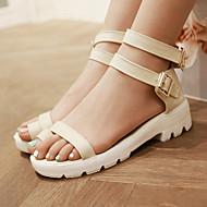 נעלי נשים-סנדלים-דמוי עור-טבעת אצבע / פתוח-שחור / כחול / צהוב / בז'-שמלה / קז'ואל-עקב נמוך