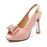 נעלי נשים-סנדלים-דמוי עור-עקבים / פלטפורמה / רצועה אחורית / פתוח-שחור / ורוד / לבן-מסיבה וערב / שמלה-עקב סליל