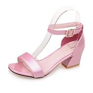 Dame-Kunstlær-Tykk hæl-Komfort-Sandaler-Formell Fritid-Hvit Rød Blå Rosa
