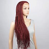 mode syntetiska peruker spets front peruker 32inch flätat rött värmebeständigt peruker kvinnor