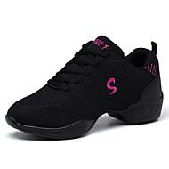 Scarpe da ballo-Non personalizzabile-Da donna-Sneakers da danza moderna-Quadrato-Tessuto-Nero / Rosso / Bianco