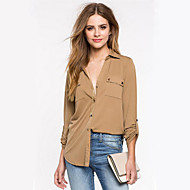 Women's Solid Black / Multi-color Shirt,Shirt Collar Long Sleeve
