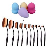 10pcs / set escova sobrancelha fundação delineador de lábios escovas ovais + 4pcs maquiagem fundação sopro forma esponjas