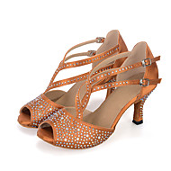 Obyčejné-Dámské-Taneční boty-Břišní / Latina / Jazz / Taneční tenisky / Moderní / Vystupovací / Swing-Satén-Rozšiřující se-Černá / Hnědá