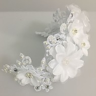 Women's Lace Pearl Tulle Headpiece-Wedding Special Occasion Flowers Wreaths 1 Piece