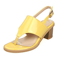 Women's Shoes Chunky Heel Sling back/Toe Ring/Open Toe Sandals Dress Yellow/Pink/White/Silver