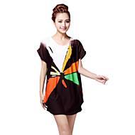 Vrouwen Street chic Zomer T-shirt,Uitgaan Geometrisch Ronde hals Korte mouw Zwart Rayon Dun