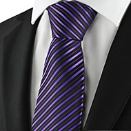 Striped Purple Black Golden Mens Tie Necktie Party Wedding Holiday Gift KT1051