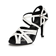 Customizable Women's Dance Shoes Latin / Tap / Modern / Samba Leatherette Stiletto Heel Black