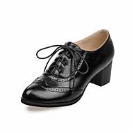 Oxford-kengät-Leveä korko-Naiset-PU-Musta Beesi Ruskea Punainen-Toimisto Rento Urheilu-Comfort