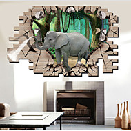 Elephant Animals / Cartoon Wall Stickers 3D Wall Stickers,PVC 90*60cm