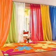 Dois Painéis Tratamento janela Moderno , Sólido Sala de Estar Poliéster Material Sheer Curtains Shades Decoração para casa For Janela
