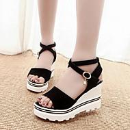 Γυναικεία παπούτσια-Πέδιλα-Καθημερινά / Φόρεμα-Ενιαίο Τακούνι-Peep Toe / Ανατομικό / Λουράκι στον Αστράγαλο-Σουέτ-Μαύρο / Κόκκινο