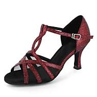 Sapatos de Dança(Vermelho / Cinza) -Feminino-Personalizável-Latina