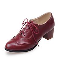 Calçados Femininos-Oxfords-Saltos / Arrendondado-Salto Baixo-Preto / Marrom / Vermelho / Bege-Courino-Social / Casual