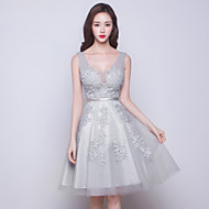 Cocktail Party Dress-Silver Ball Gown V-neck Knee-length Tulle