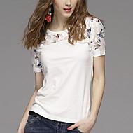 Kortærmet Rund hals Solid Kvinders Hvid Trykt mønster Sommer Vintage / Simpel Casual/hverdag T-shirt,Modal / Polyester