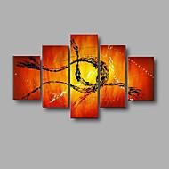ručně malované moderní abstraktní umění zdi home office výzdoba olejomalba na plátně 5ks / souprava s rámem napnuté