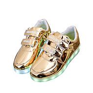 女性 男の子用 女の子用-アウトドア カジュアル アスレチック-レザーレット-フラットヒール-靴を点灯-スニーカー-シルバー ゴールド