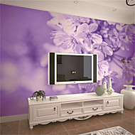 JAMMORY Art Deco Wallpaper Contemporary Wall Covering,Other Large 3D Mural Wallpaper Purple Flowers