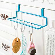 Eisen Kunst Küchenschranktür Typ Doppel-Pole Handtuchhalter nicht-trace Tuch hängen Rack zufällige Farbe