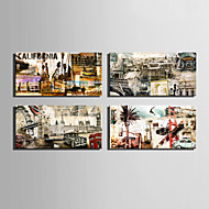 Abstraktní / Architektura Na plátně Čtyři panely Připraveno k Pověste,Vertikální