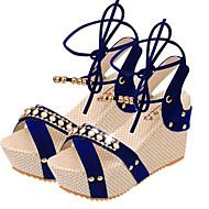 Women's Shoes Leather Platform Peep Toe / Platform / Toe Ring Sandals Outdoor / Dress Black / Blue / Beige