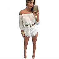 Women's Casual/Daily Sexy / Simple Summer Set,Solid Boat Neck ¾ Sleeve Red / White Polyester Thin