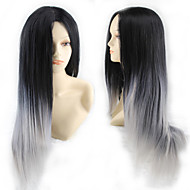 Mode Cartoon Perücke cos schwarz grau verlaufend langen glatten Haaren Perücke