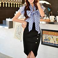 DABUWAWA® Dames Overhemdkraag Korte mouw Shirt & Blouse Marine Blauw-D15BST055