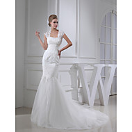 Trumpet / Mermaid Wedding Dress Court Train Square Lace / Satin with Appliques / Beading / Button