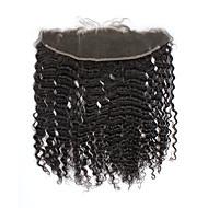 """8""""-20"""" Полностью ленточные Kinky Curly Человеческие волосы закрытие Умеренно-коричневый / Темно-коричневый Швейцарское кружево грамм"""