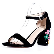 Women's Shoes Cowhide / Suede Chunky Heel Heels / Ankle Strap Sandals Party & Evening / Dress / Casual Black