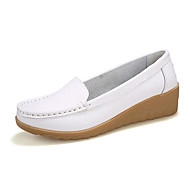 Women's Spring / Summer / Fall / Winter Comfort Leather Casual Flat Heel Slip-on Black / Pink / White / Orange / Burgundy / Khaki