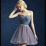 Cocktail Party Dress Ball Gown Strapless Short / Mini Satin / Tulle with Side Draping / Sequins