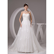 A-line Wedding Dress Court Train Sweetheart Satin / Tulle with Appliques / Beading / Sash / Ribbon