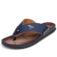 Men's Breathable Flip-Flops Casual Leather Sandals Beach Shoes Men Slippers