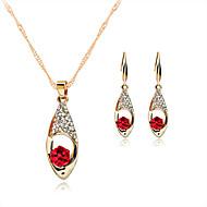 Komplet nakita Ogrlica / Naušnice Kristal Kristal Umjetno drago kamenje Pozlata od crvenog zlata Legura Crvena Zelen PlavaOgrlice