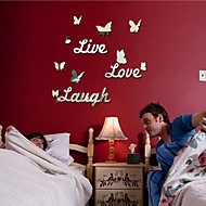 Live Love Laugh Butterfly Alphabet Mirror Wall Stickers