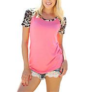 Mulheres Camiseta Casual Moda de Rua Verão,Leopardo Rosa Raiom / Poliéster Decote Redondo Manga Curta Fina