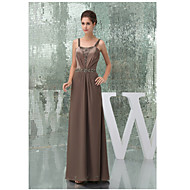 Formal Evening Dress A-line Straps Floor-length Charmeuse