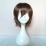 новые стильные косплей парик мужские парики мультфильм коричневые короткие прямые волосы анимированные парики синтетические