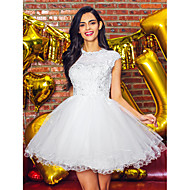 TS Couture Cocktail Party Prom Dress - Beautiful Back Ball Gown Jewel Short / Mini Tulle with Appliques Beading Lace